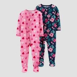 Toddler Girls' Floral & Hearts Footed Pajama - Just One You® made by carter's Blue