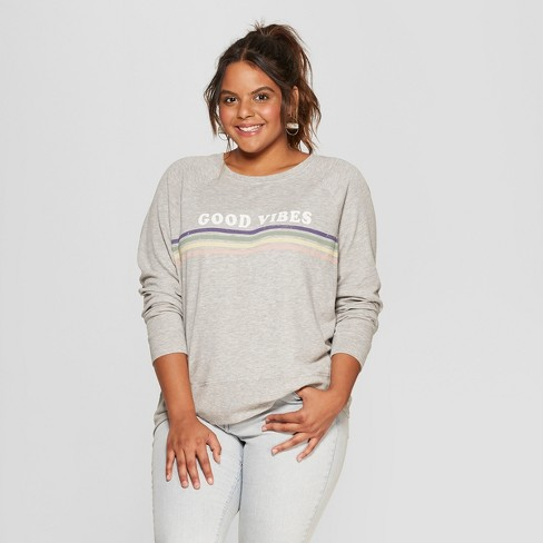 38a026a394f Women s Plus Size Good Vibes Rainbow Striped Graphic Sweatshirt - Grayson  Threads (Juniors ) Heather Gray