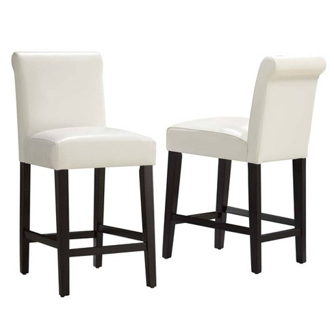 24 Set Of 2 Vermont Faux Leather Counter Stool White Inspire Q