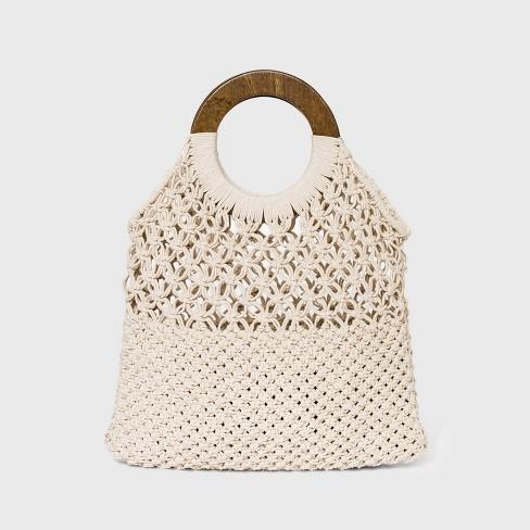 Circle Handle Crochet Tote Handbag - A New Day™ - image 1 of 2