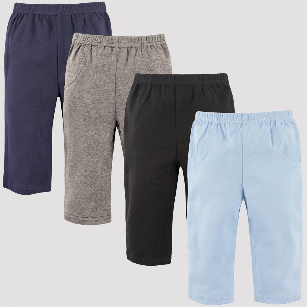 Image of Luvable Friends Baby 4pk Pull-On Pants - Black 6M, Kids Unisex, Blue