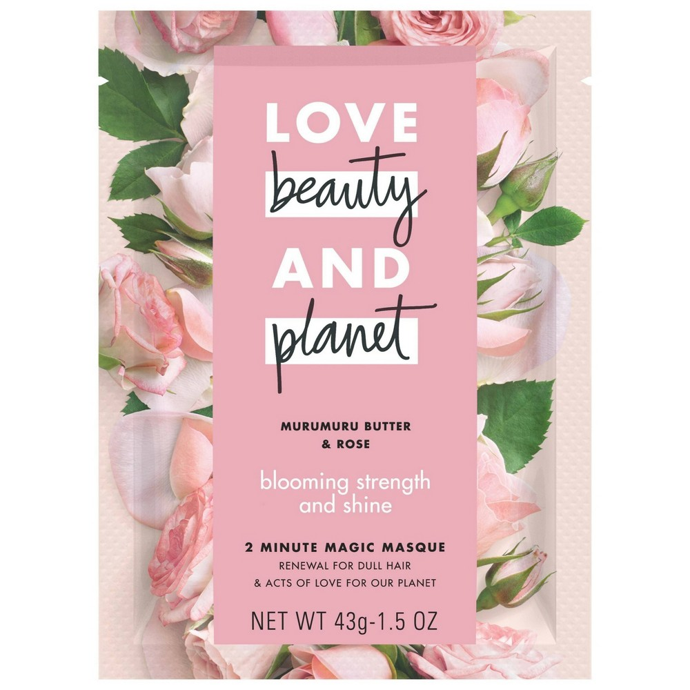 Image of Love Beauty & Planet Murumuru Butter & Rose Blooming Strength And Shine 2 Minute Magic Masque - 1.5oz