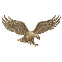 Whitehall 00755 36 Inch Antique Indoor Outdoor Eagle Wall Hanging Plaque, Brass