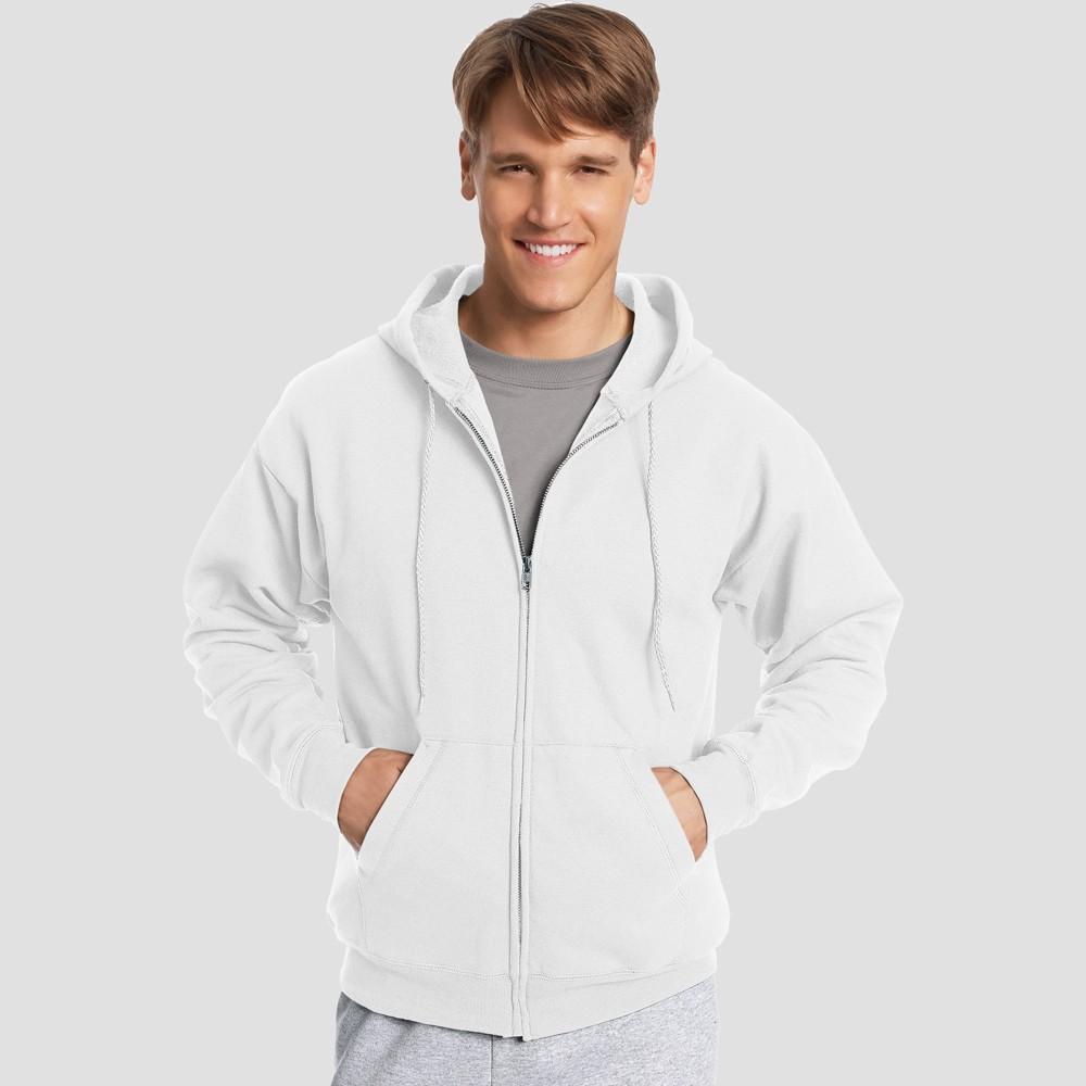Hanes Men's EcoSmart Fleece Full Zip Hooded Sweatshirt - White L
