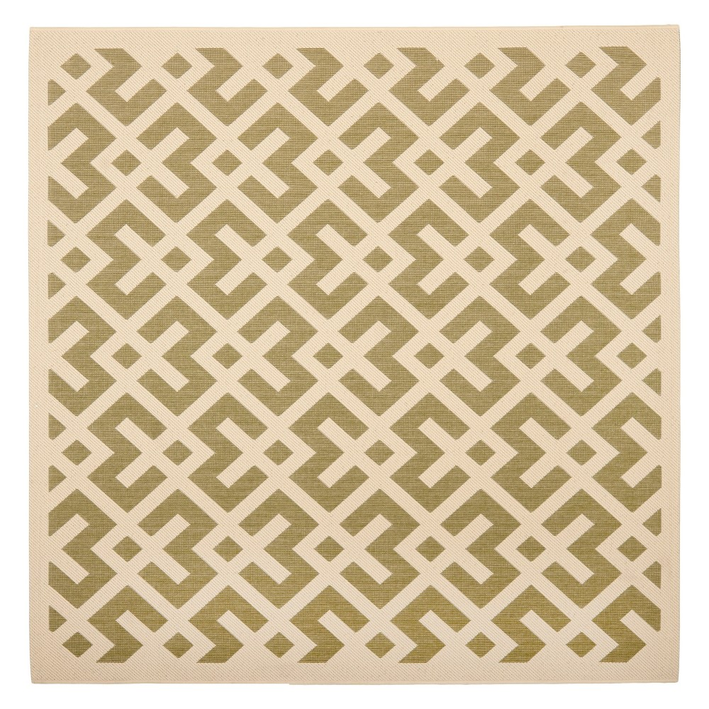 Kassel Square 4' X 4' Outer Patio Rug - Green / Bone - Safavieh, Green/Ivory