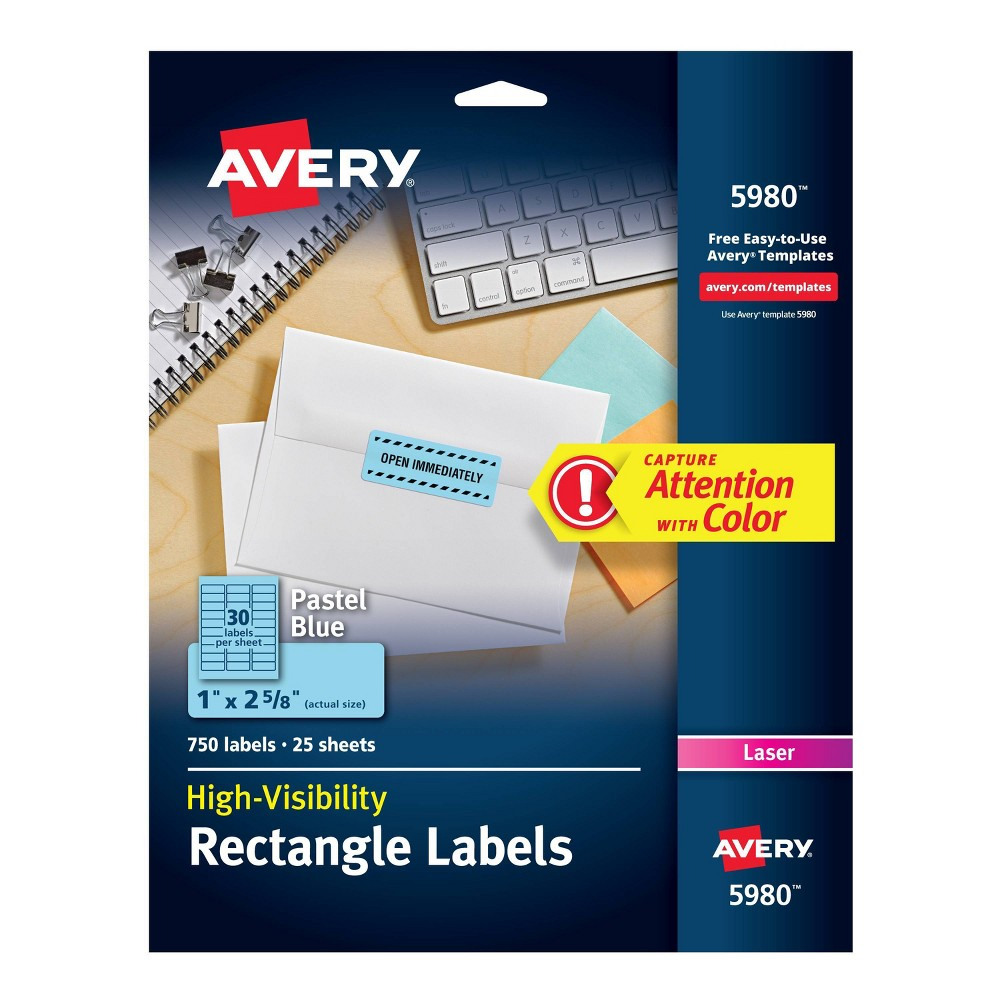 "Image of ""Avery 1"""" x 2-5/8"""" High-Visibility Laser Labels - Pastel Blue (750 Pack)"""
