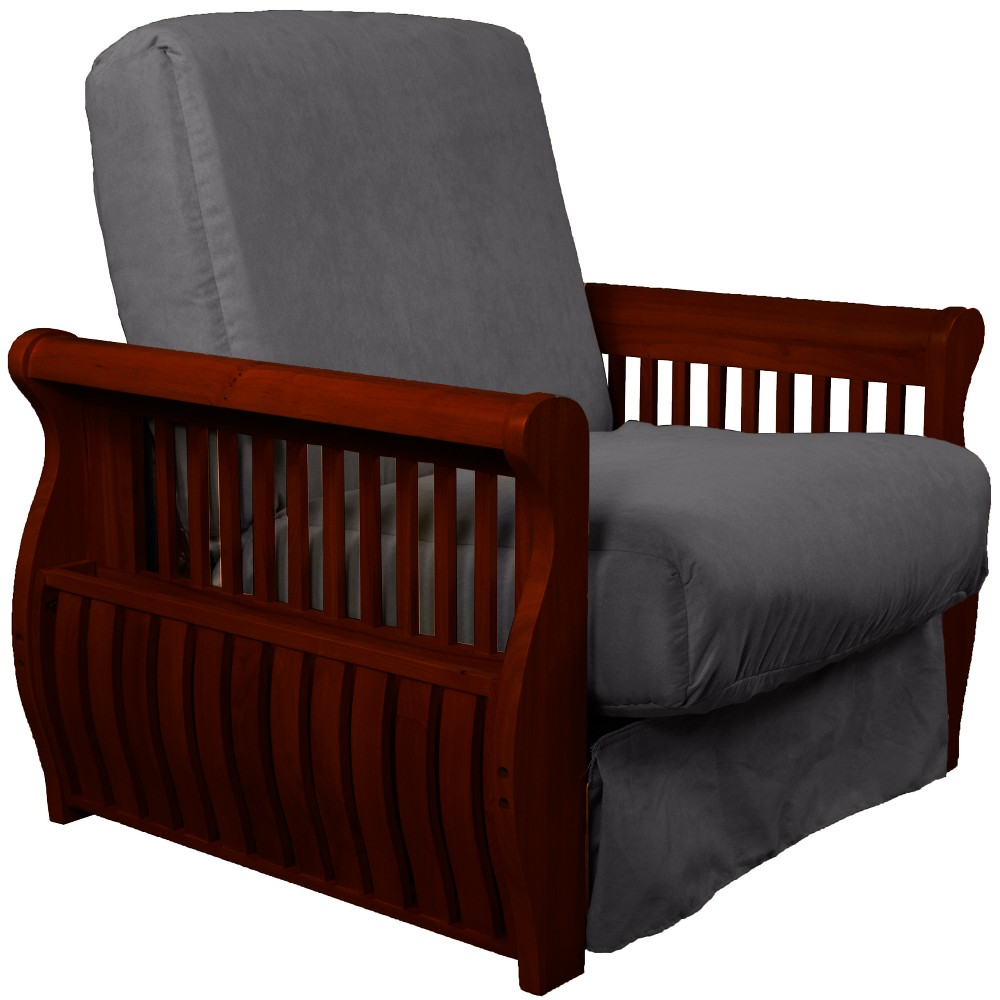 Storage Arm Perfect Futon Sofa Sleeper Mahogany Wood Finish Slate Gray - Epic Furnishings
