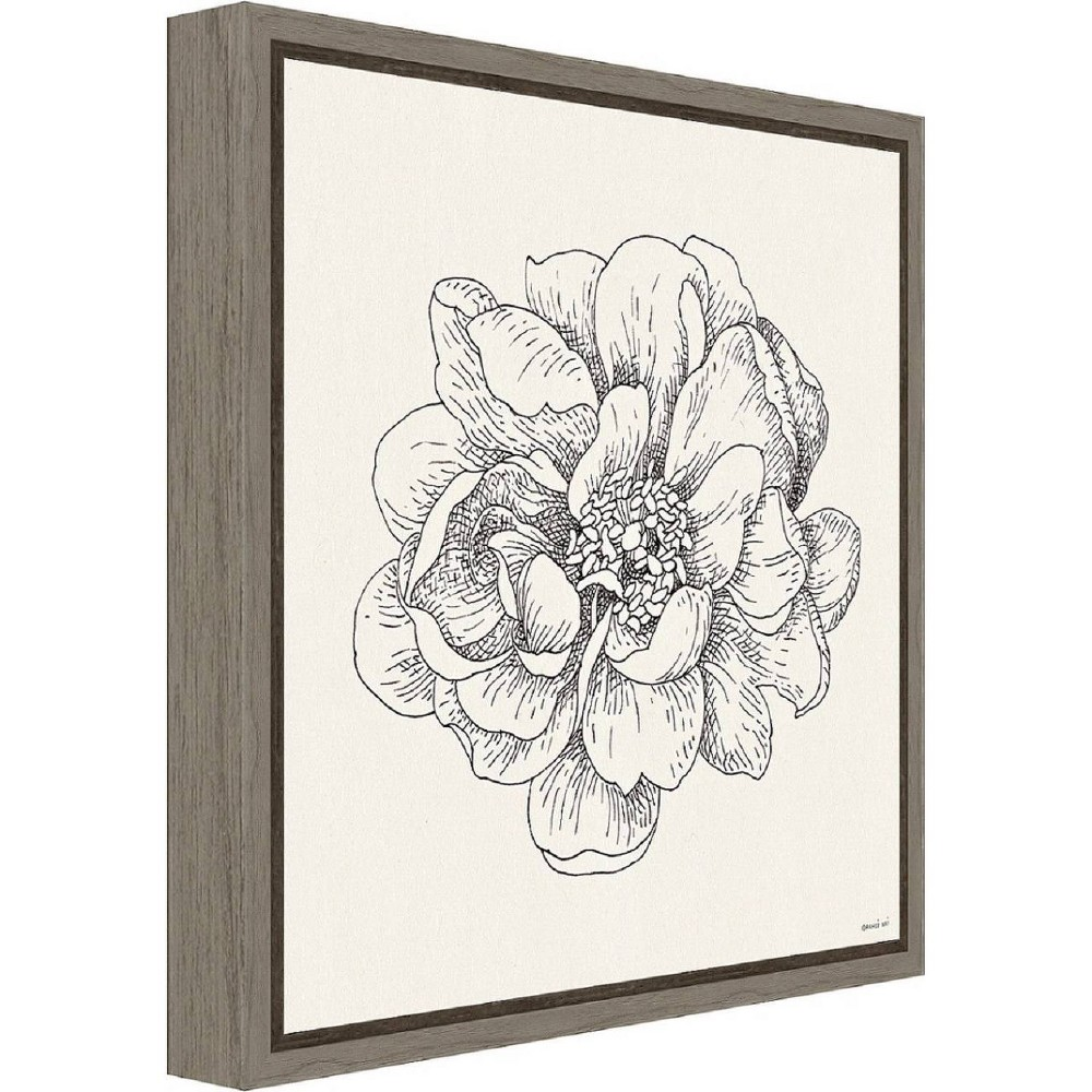 "Image of ""16"""" X 16"""" Pen and Ink Florals Iv By Danhui Nai Greywash - Amanti Art, White Black"""