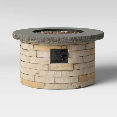 """32"""" Chisholm Round Stone LP Fire Table Natural - Threshold™"""