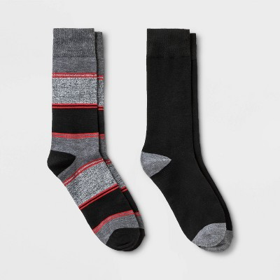Men's Striped Novelty Socks 2pk - Goodfellow & Co™ Red/Black 7-12