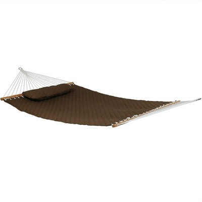 Quilted Designs Quilted Fabric Hammock - Brown - Sunnydaze Decor