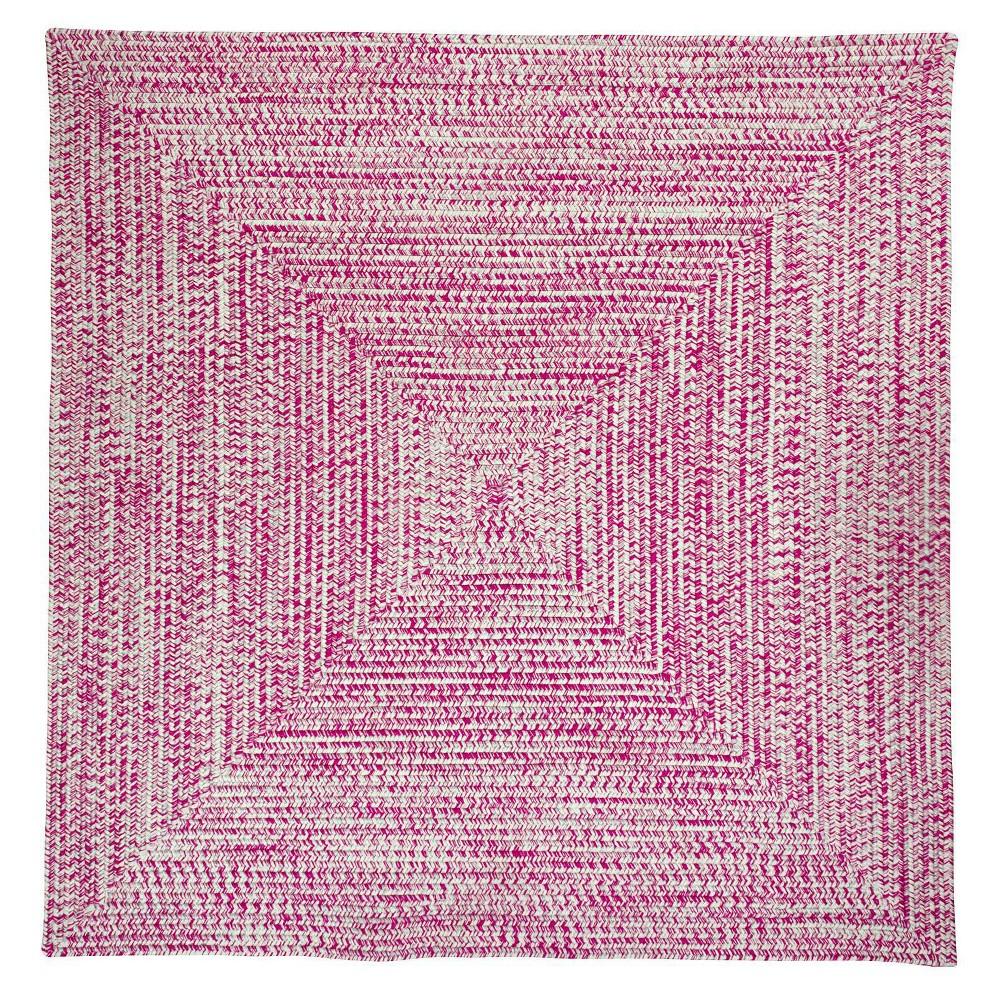 Island Tweed Braided Square Area Rug Pink