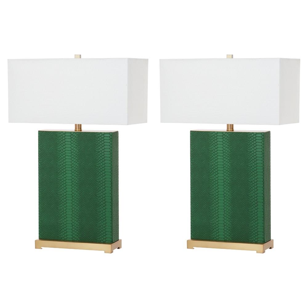 Image of Joyce Dark Green Ceramic Faux Snakeskin Table Lamp Set of 2 - Safavieh
