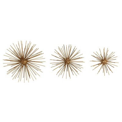 Set of 3 Gold Bursts Wall Decor - Stratton Home Décor