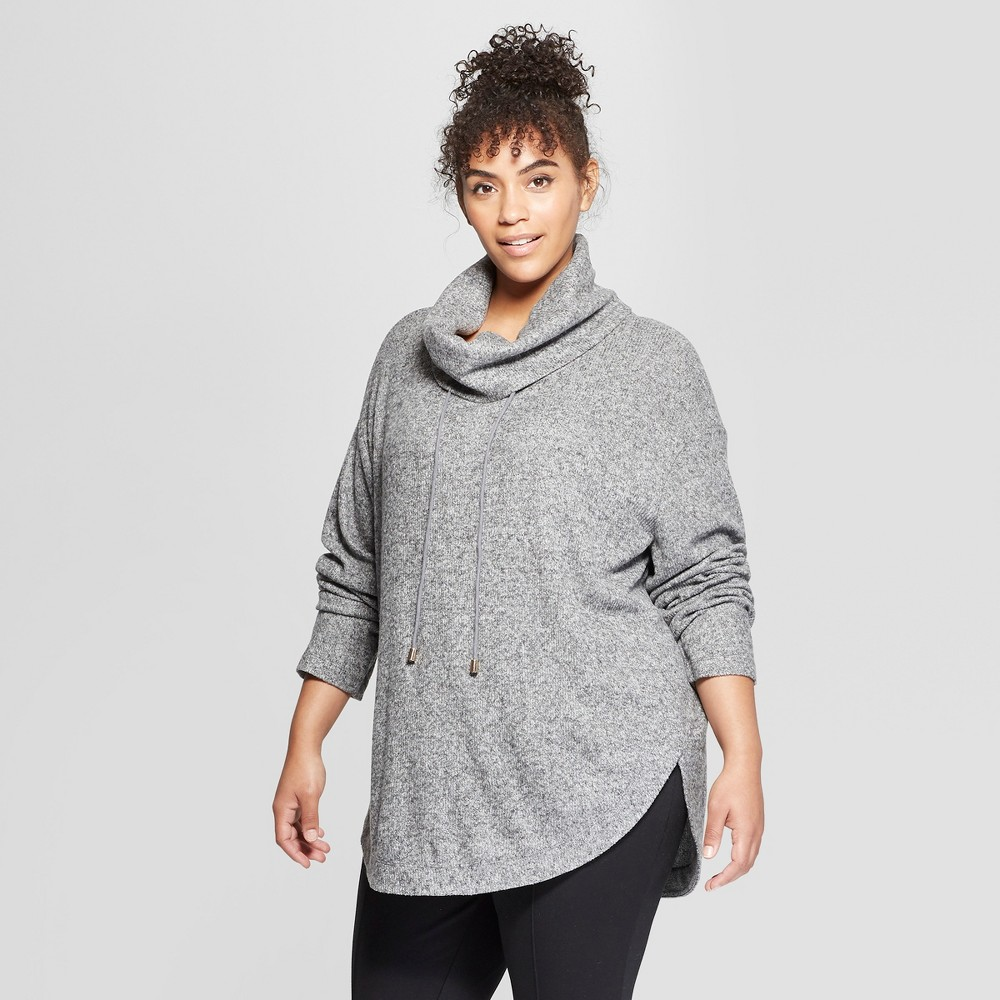 Women's Plus Size Cowl Neck Tunic - Ava & Viv Dark Heather Gray 3X