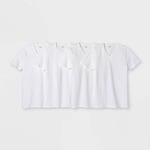 Men's 4pk V-Neck T-Shirt - Goodfellow & Co™ White - image 1 of 1