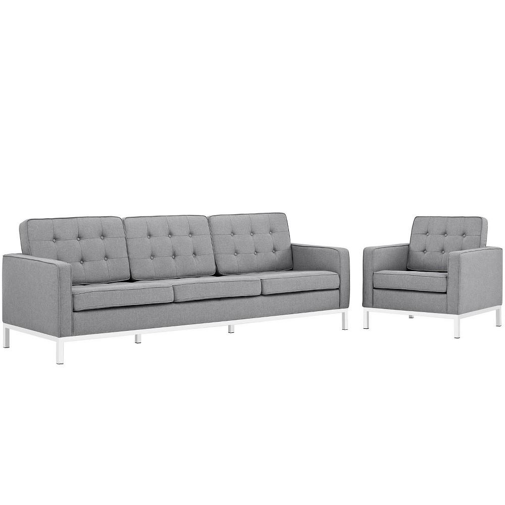 Loft Living Room Set Upholstered Fabric Set of 2 Light Gray - Modway