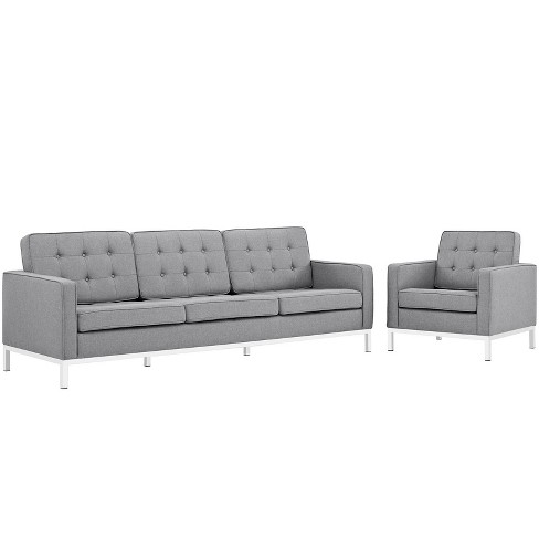 Set of 2 Loft Living Room Set Upholstered Fabric Sofa and Armchair - Modway - image 1 of 4