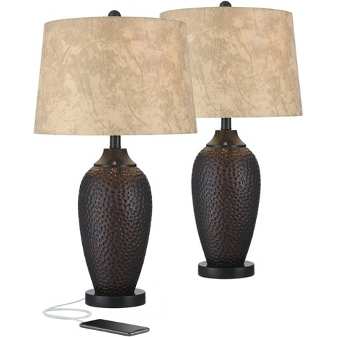 Franklin Iron Works Rustic Industrial Table Lamp with USB Charging Port Hammered Oiled Bronze Faux Leather Drum Shade Living Room - image 1 of 4