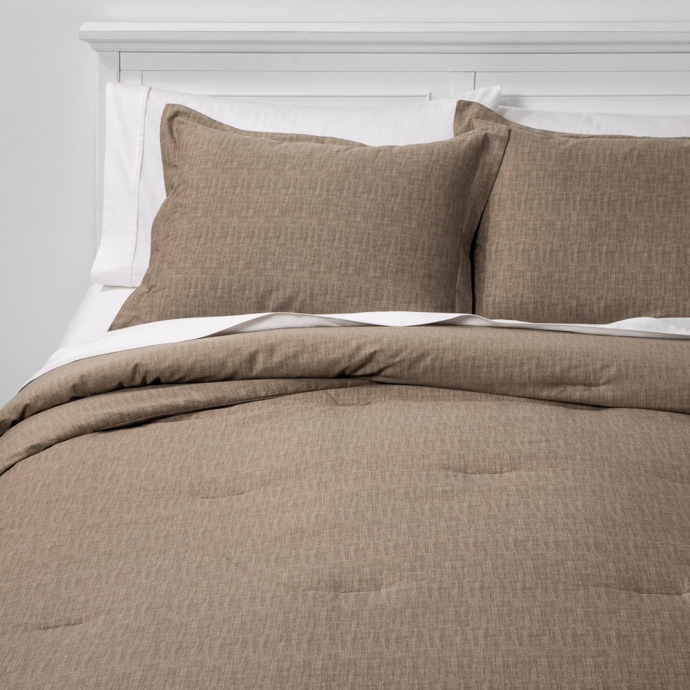 Twin Extra Long Family Friendly Solid Comforter & Pillow Sham Set Taupe - Threshold was $69.0 now $34.5 (50.0% off)