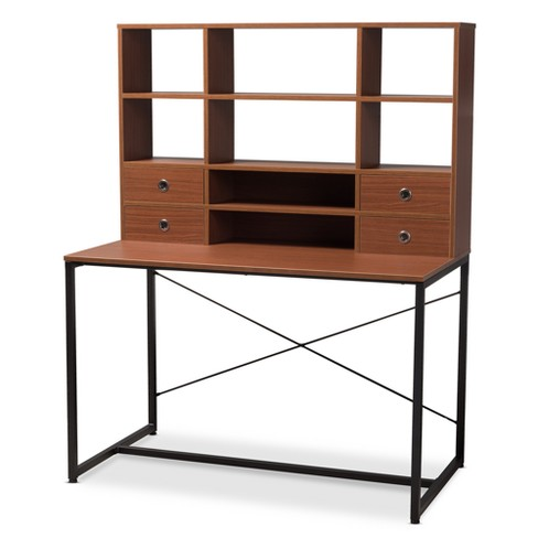 Edwin Rustic Style Wood And Metal 2 In 1 Bookcase Writing Desk Brown Black Baxton Studio