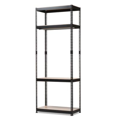 Gavin Metal 4 - Shelf Closet Storage Racking Organizer - Black - Baxton Studio
