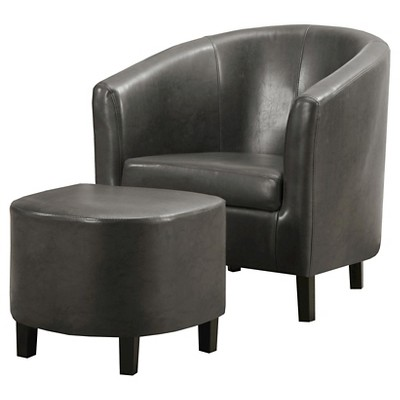 Exceptionnel Faux Leather Accent Chair And Ottoman   Charcoal Gray   EveryRoom