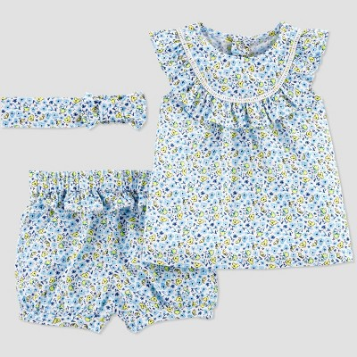 Baby Girls' Top & Bottom Set with Headband - Just One You® made by carter's Blue 3M