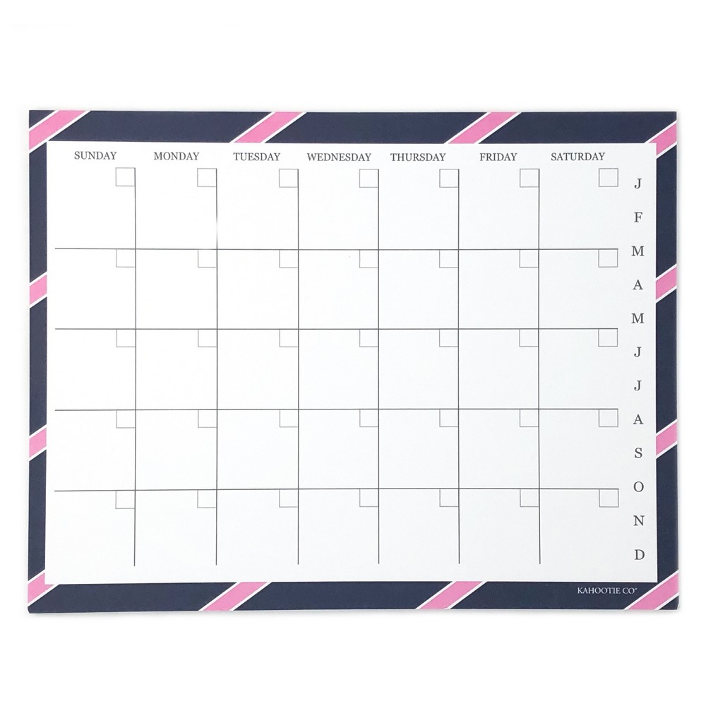 "Image of ""Monthly Calendar Notepad 8.5""""x11"""" Navy- Kahootie Co, Blue"""