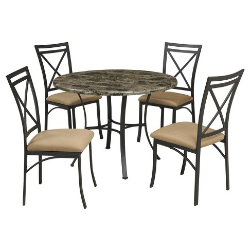 Faux Marble Top Dining Table Black