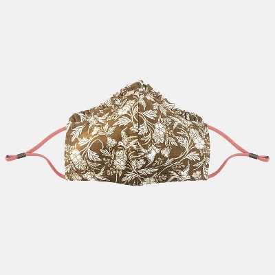 Women's Ruffle Trim Floral Print Face Mask + Hair Twister - Universal Thread™ Brown  One Size