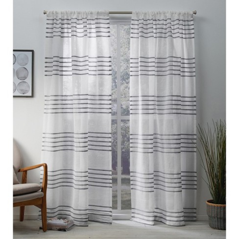 Exclusive Home Monet Sheer Linen Pleated Cabana Stripe Rod Pocket Window Curtain Panel Pair - image 1 of 5