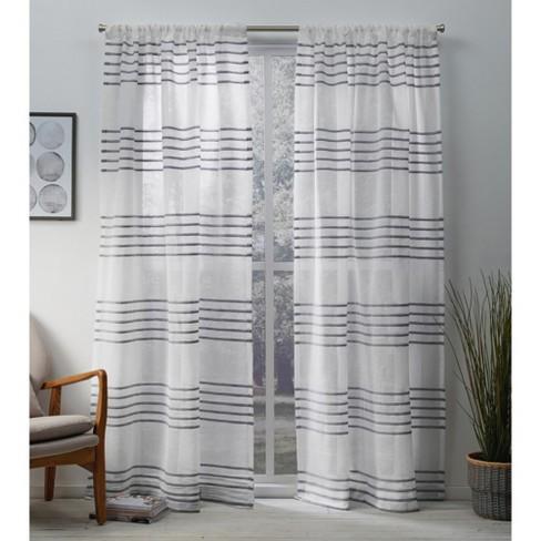 Exclusive Home Monet Sheer Linen Pleated Cabana Stripe Rod Pocket Window Curtain Panel Pair