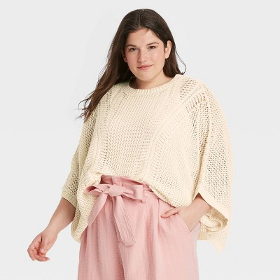 Women's Knit Pullover - A New Day™ Cream