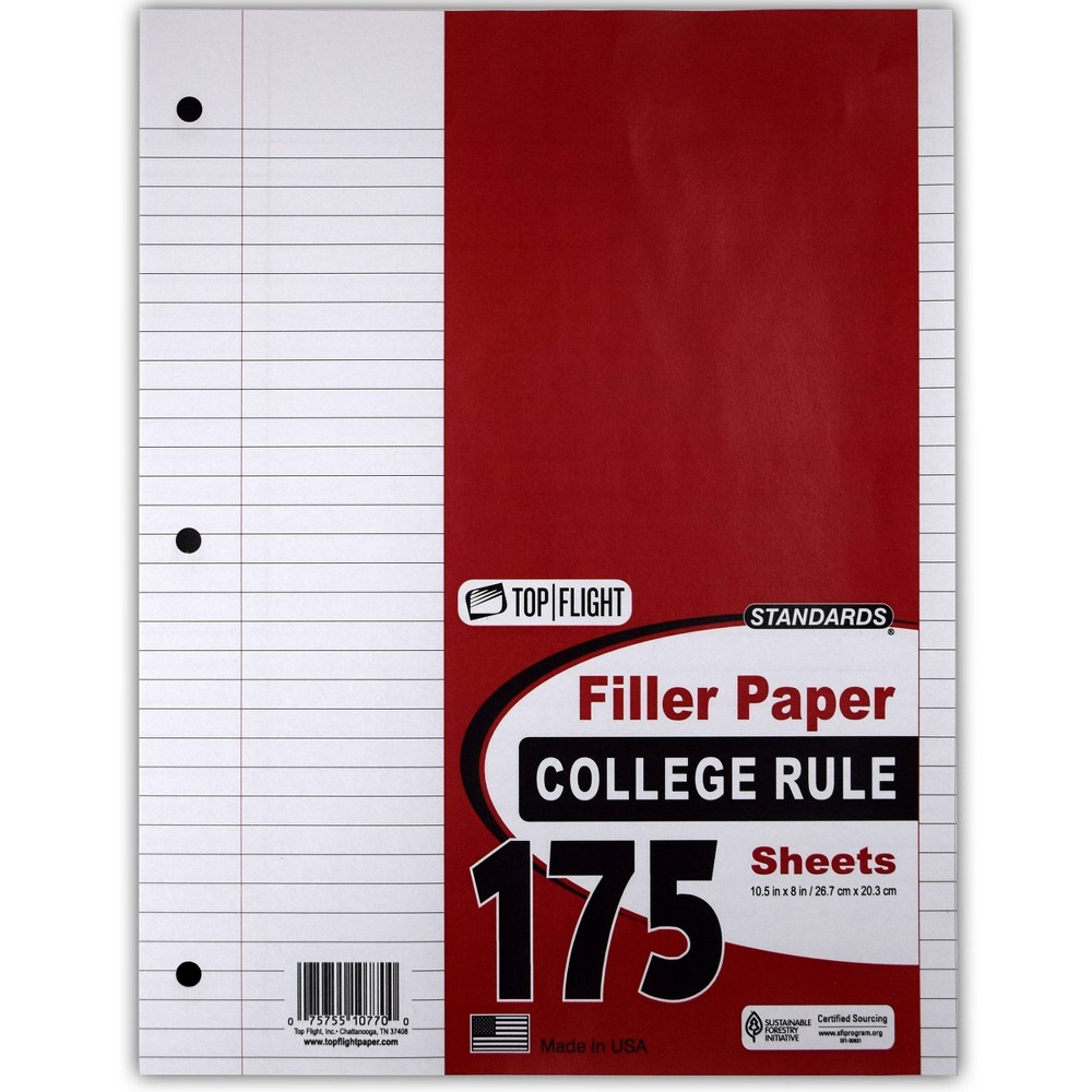 Image of 175 Sheet College Ruled Filler Paper White - Top Flight