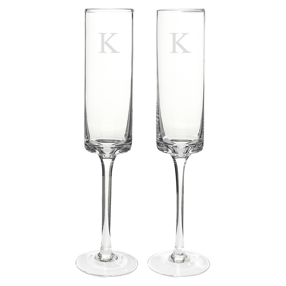 2ct Monogram Contemporary Wedding Champagne Flutes, Clear