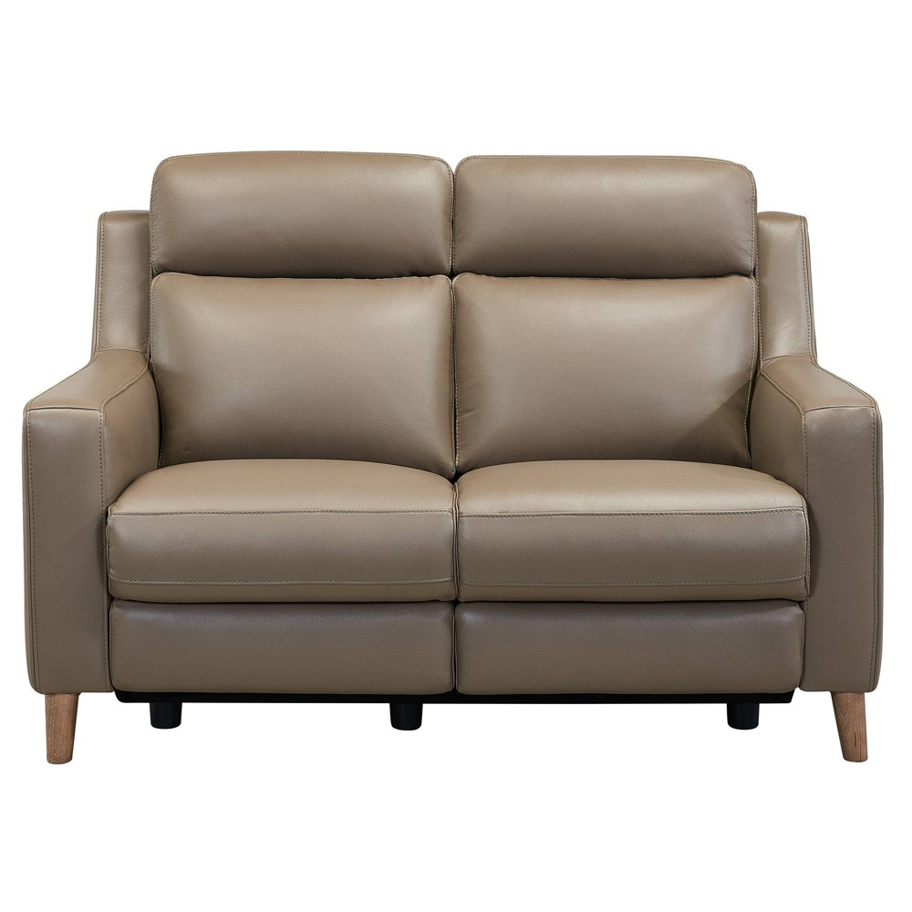 Image of Wisteria Contemporary Leather Power Recliner Loveseat with USB Taupe - Armen Living