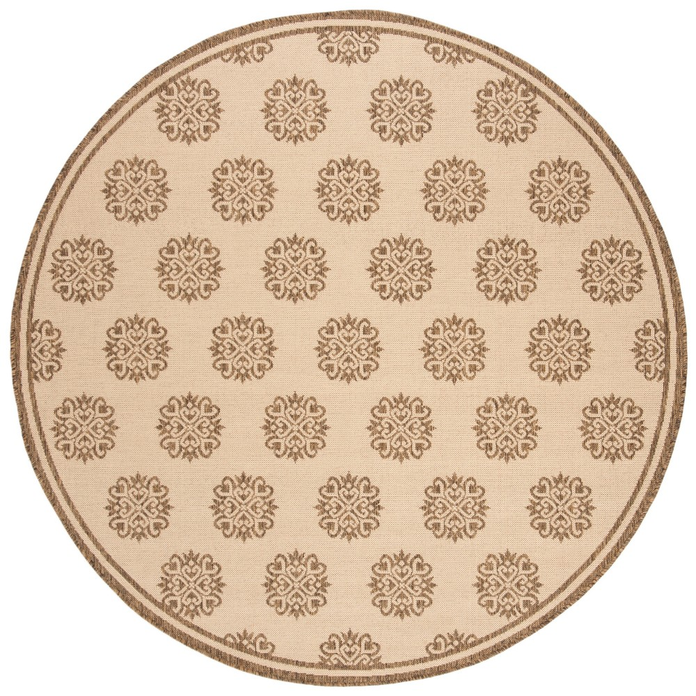 6'7 Medallion Loomed Round Area Rug Cream/Beige (Ivory/Beige) - Safavieh