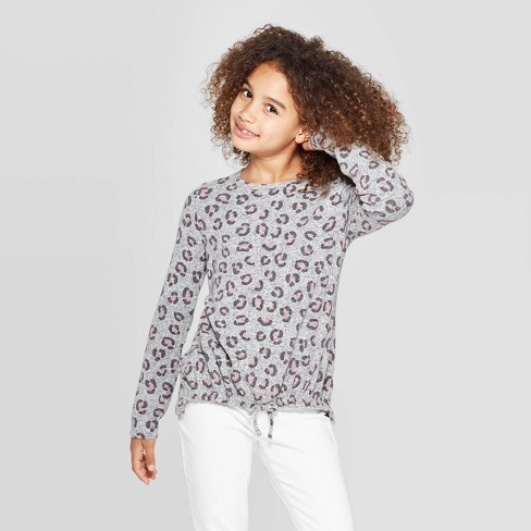 Girls' Cozy Long Sleeve Animal Print Top - Cat & Jack™ Heather Gray - image 1 of 3