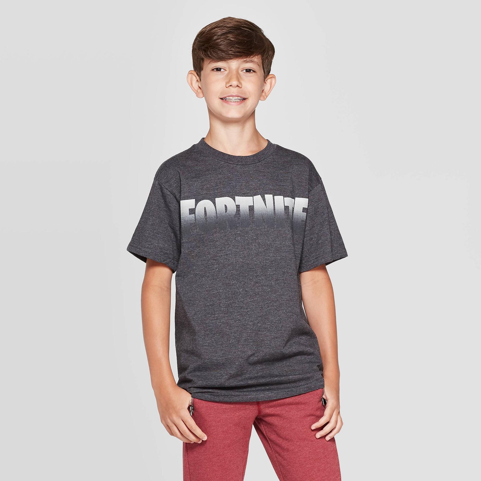Boys' Fortnite Logo-6 Short Sleeve T-Shirt - Charcoal Heather M, Gray