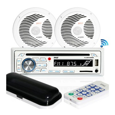 Pyle PLCDBT65MRW Single DIN Marine Bluetooth Receiver Stereo System and CD Player with 6.5 Inch Waterproof Speaker Pair and Remote Control, White
