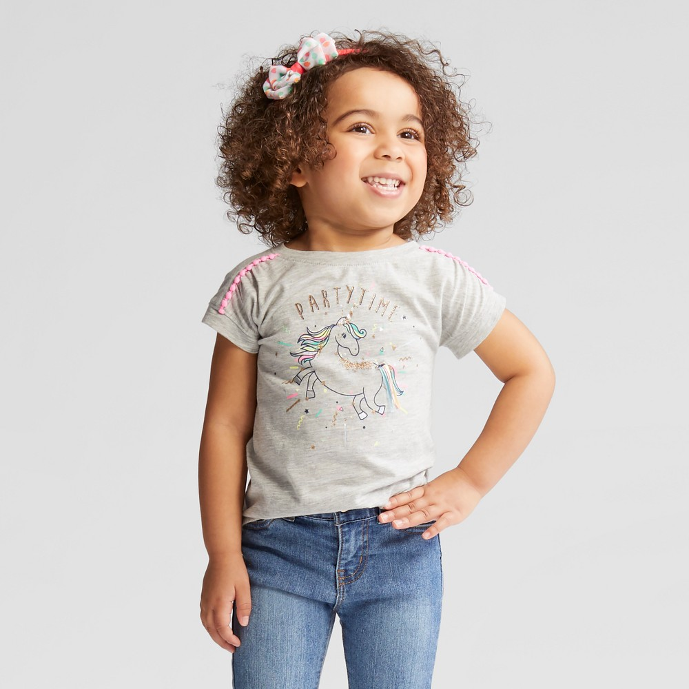 Toddler Girls' Party Time Short Sleeve T-Shirt - Cat & Jack Heather Gray 18M