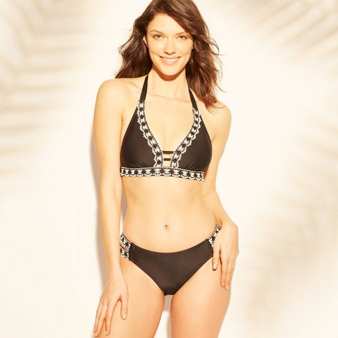 acf5fa6d71 Women s Crochet Trim Bikini Top - Kona Sol™ Black L   Target
