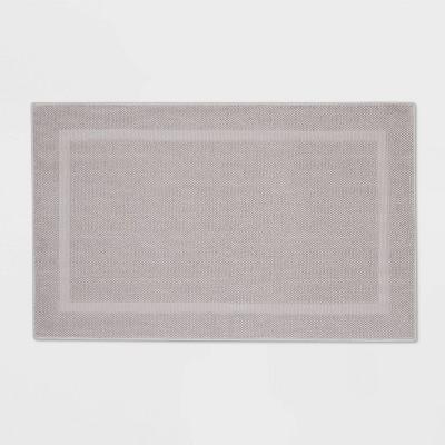 "23""x37"" Performance Texture Cotton Memory Foam Bath Rug Light Gray - Threshold™"