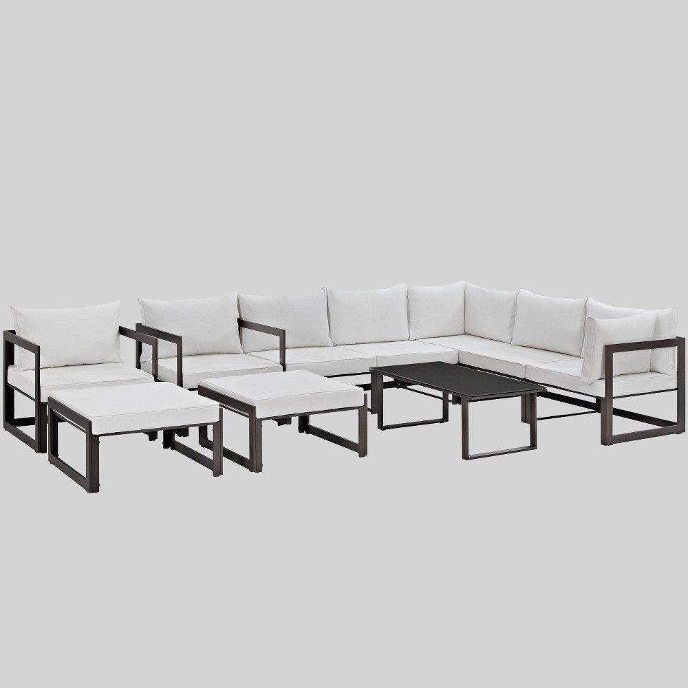 Fortuna 10pc Outdoor Patio Sectional Sofa Set White - Modway
