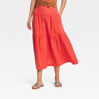 Women's Tiered Midi A-Line Skirt - Universal Thread™