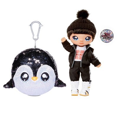 Na! Na! Na! Surprise 2-in-1 Boy Fashion Doll Sparkly Sequined Purse Sparkle - Andre Avalanche & Penguin