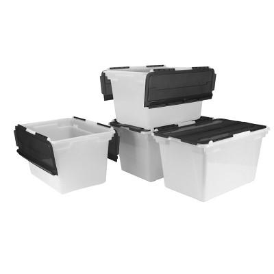 Storex 4pk 48qt Storage or File Boxes with Black Flip-Top Lids