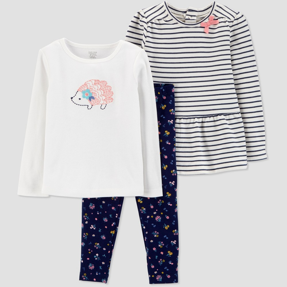 Toddler Girls' Navy Stripe 3pc Set - Just One You made by carter's Blue 2T