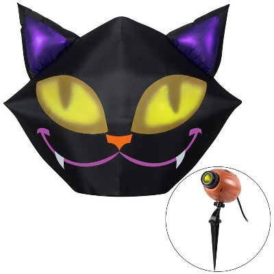Gemmy Projection Airblown Setiling Cat w/1 EyeScreams Projection included (Yellow) , 4 ft Tall